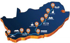 A Dél Afrikai verseny útvonala